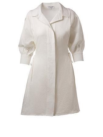 OPENING CEREMONY Textured Lace-Up Shirt Dress Womens White