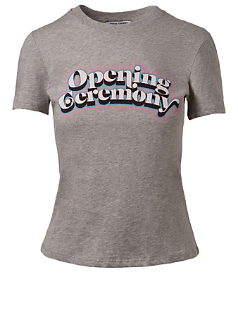 OPENING CEREMONY Fem Fit Graphic Logo T-Shirt Womens Grey
