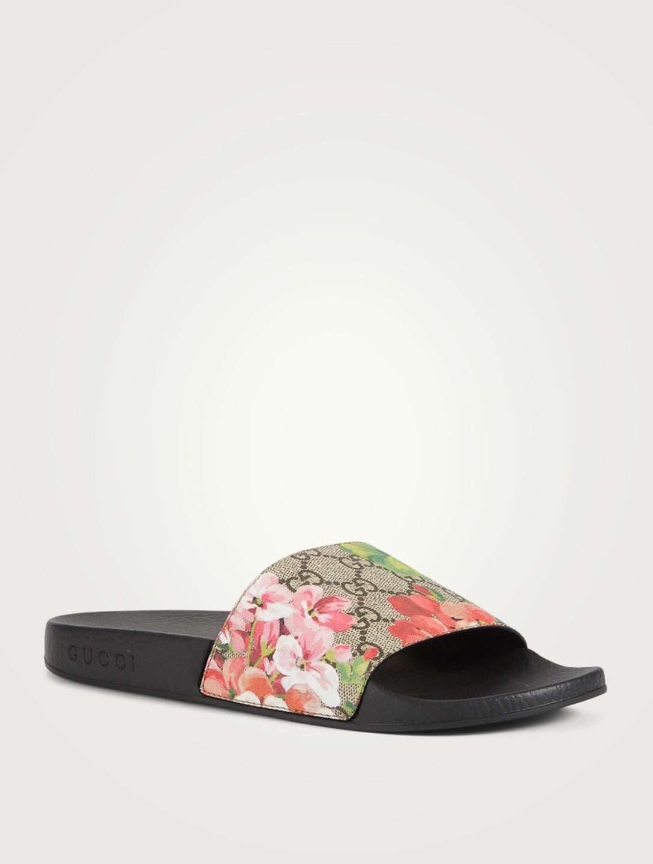 7293d942f4f ... GUCCI GG Blooms Supreme Slide Sandals Women s Neutral ...