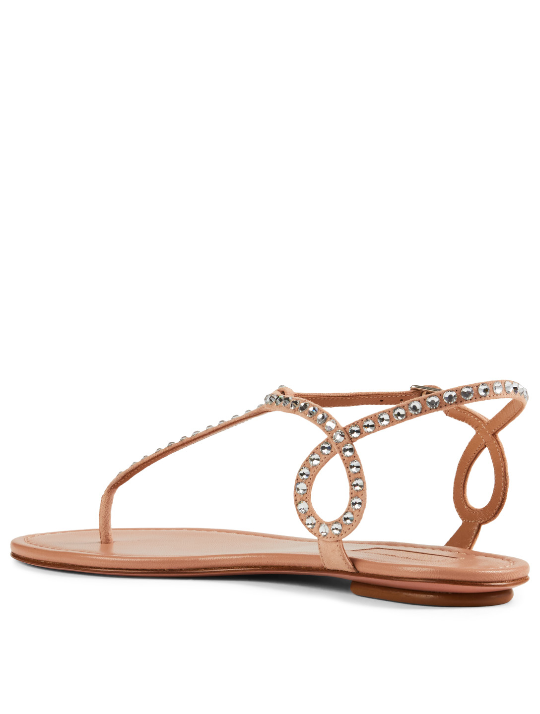 AQUAZZURA Almost Bare Suede Sandals With Crystals Women's Neutral