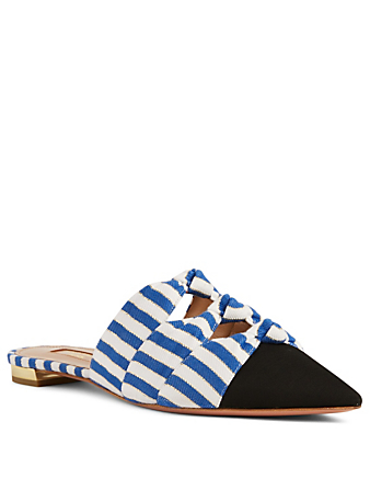 AQUAZZURA Mondaine Flat Mules In Stripe Womens Blue