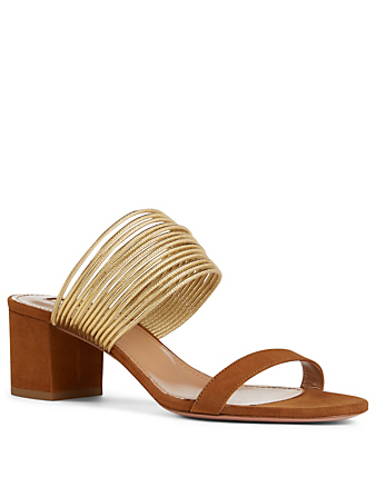 AQUAZZURA Rendez Vous 50 Suede Heeled Sandals Collections Brown