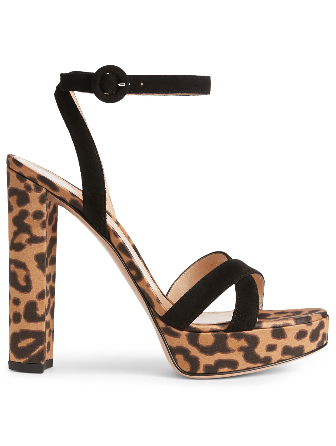 GIANVITO ROSSI Poppy Suede And Silk Platform Sandals In Leopard Print Womens Black