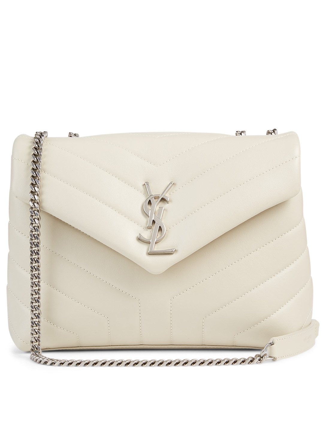 SAINT LAURENT Small Loulou YSL Monogram Leather Chain Bag Women's White