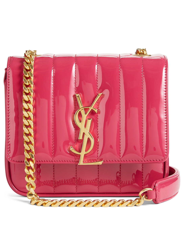 616f979dd2c SAINT LAURENT Small Vicky Monogram Patent Leather Chain Bag Women s Purple  ...