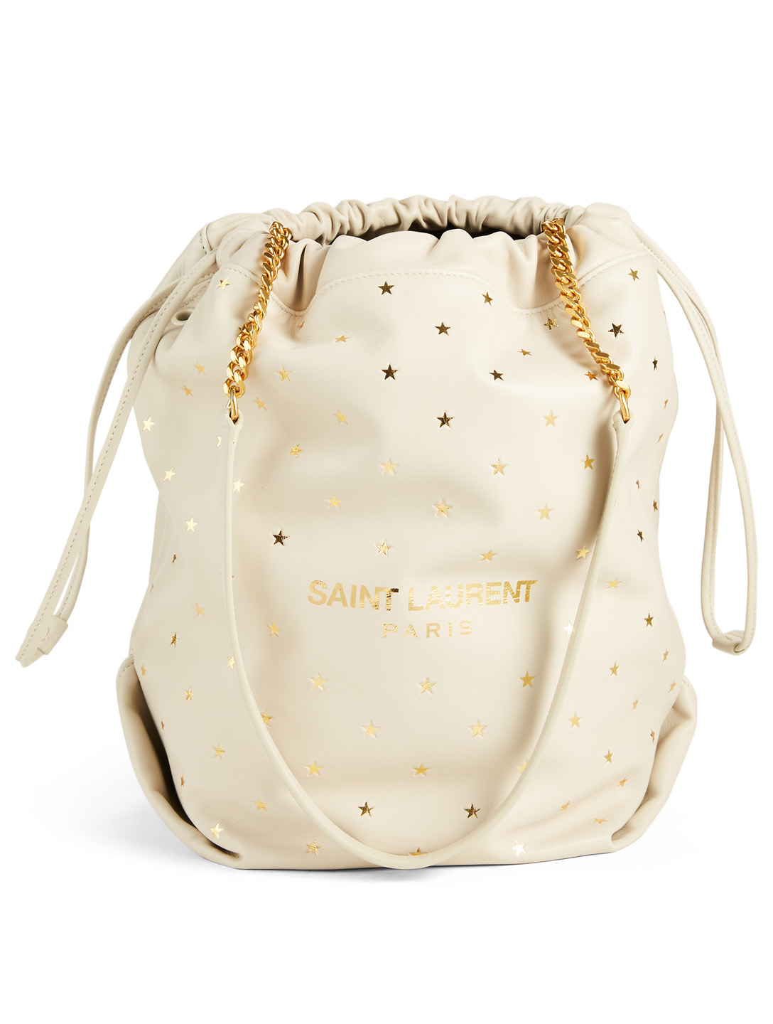 SAINT LAURENT Teddy Leather Bucket Bag With Little Stars Women's Neutral