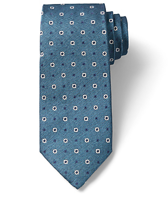 ISAIA Silk Tie In Floral Jacquard Men's Blue