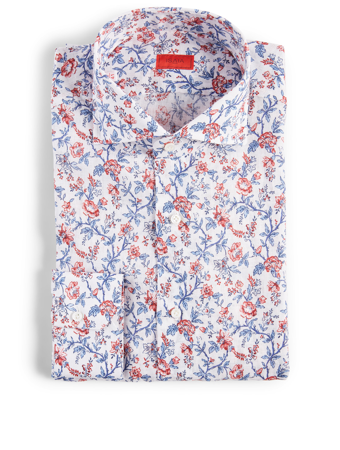 ISAIA Cotton And Linen Dress Shirt In Floral Print Men's Multi