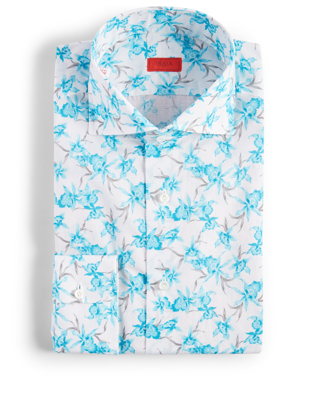 ISAIA Cotton And Linen Dress Shirt In Floral Print Men's Blue