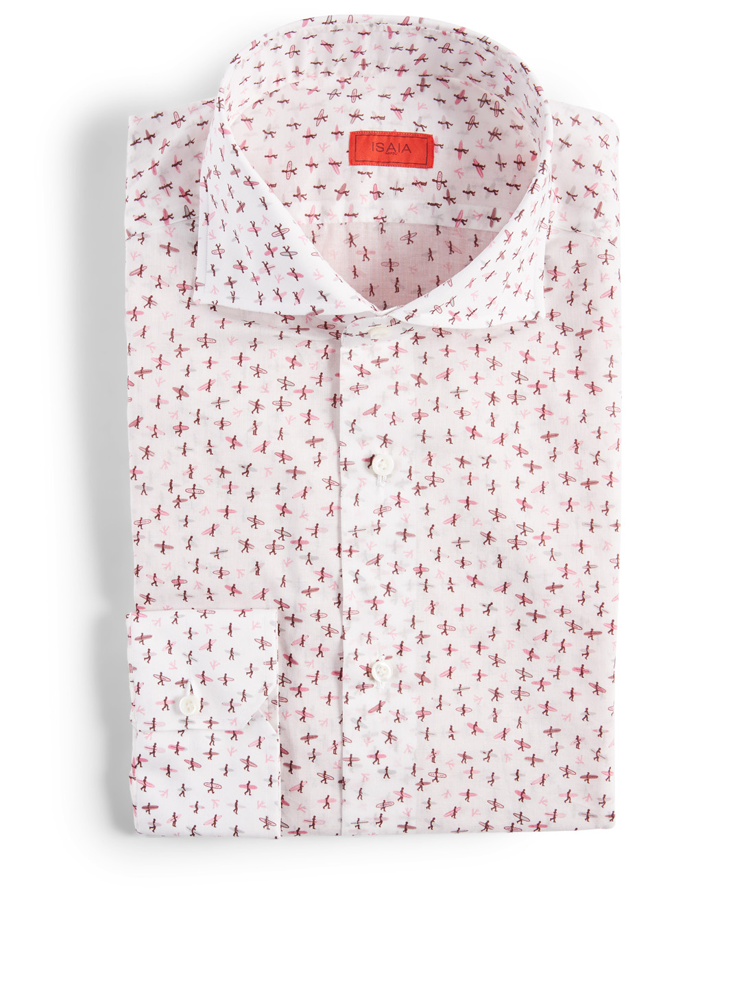 ISAIA Dress Shirt In Surf Print Men's White