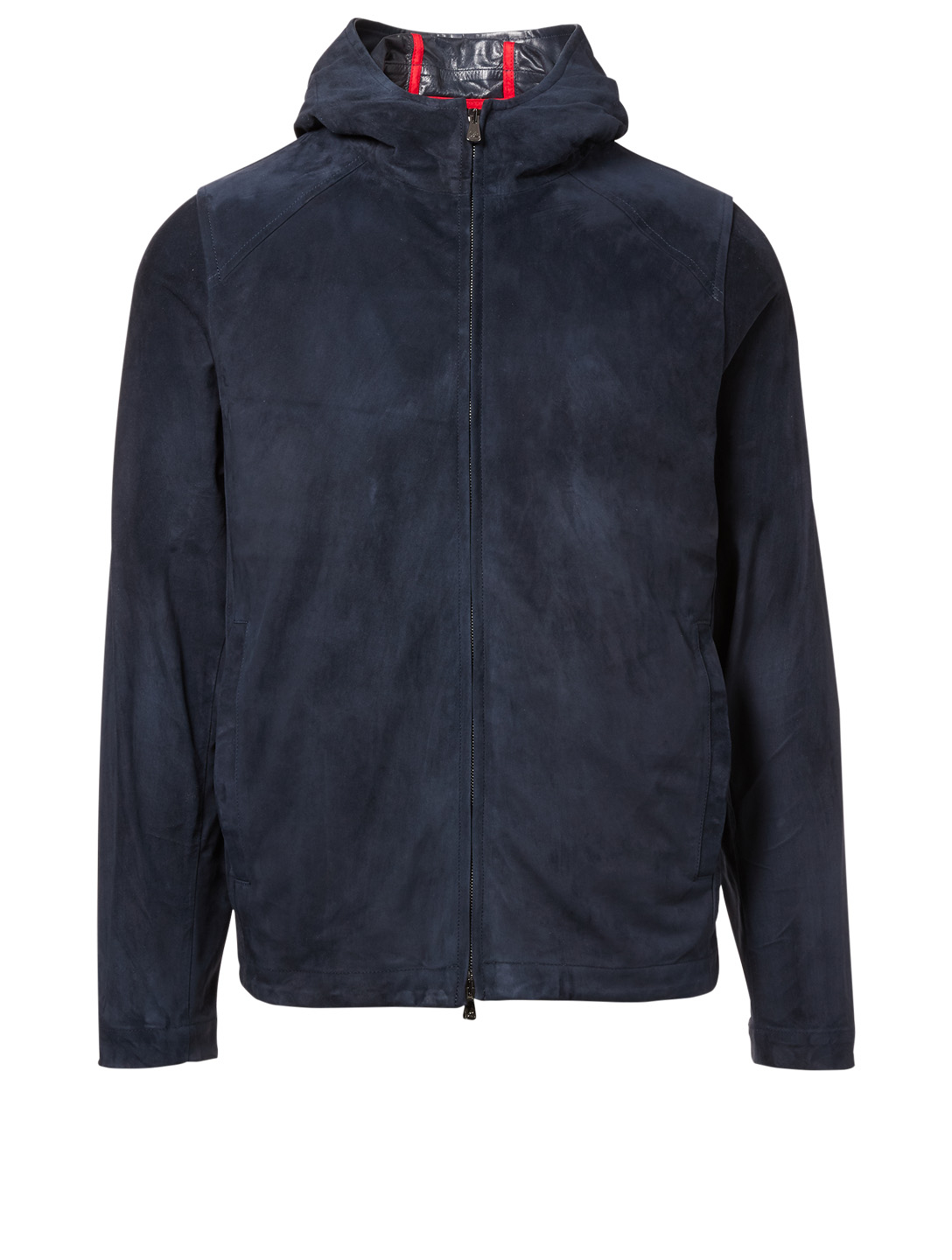 ISAIA Suede Hooded Jacket Men's Blue