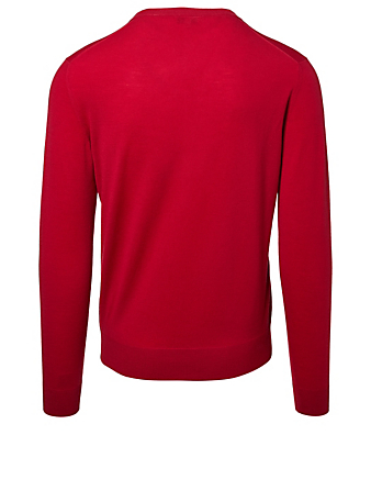 ISAIA Wool V-Neck Sweater Men's Red