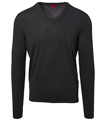 ISAIA Wool V-Neck Sweater Men's Grey