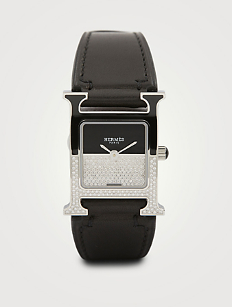 HERMÈS Small Heure H Stainless Steel Leather Strap Watch With Diamonds Women's Black