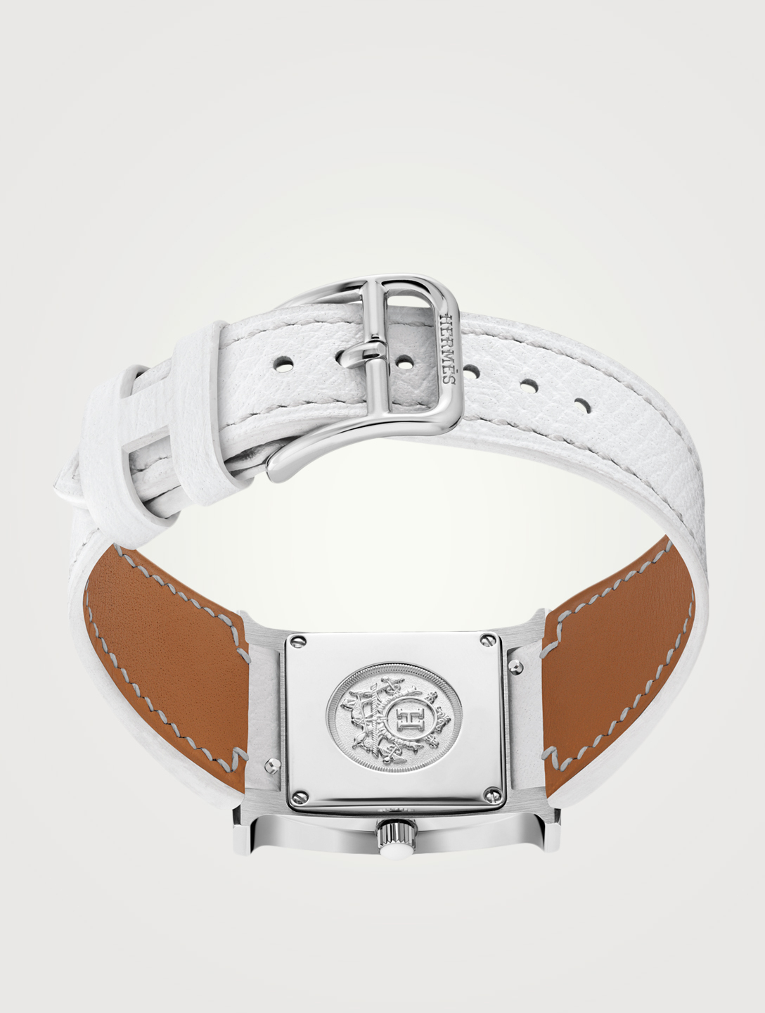 HERMÈS Small Heure H Stainless Steel Leather Strap Watch With Diamonds Women's White