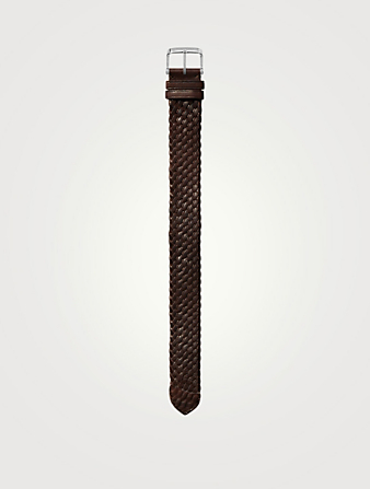 TOM FORD Large Braided Leather Watch Strap Womens Brown
