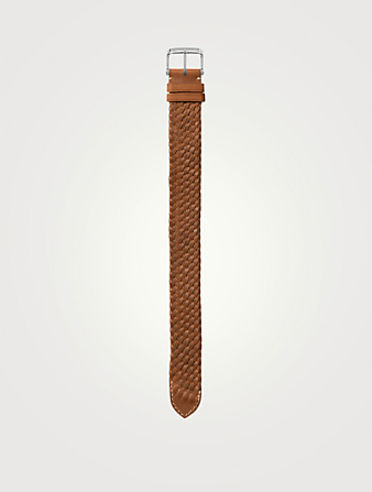 TOM FORD Large Braided Leather Watch Strap Womens Neutral