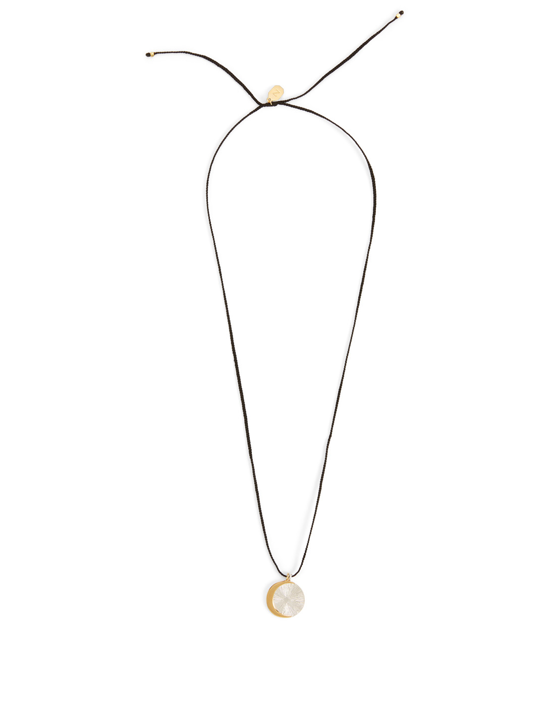IZA JEWELRY Eclipse Sterling Silver And 18K Gold-Plated Pendant Necklace H Project Black