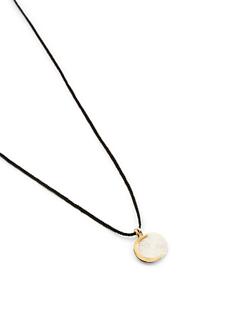 IZA JEWELRY Small Eclipse Sterling Silver And 18K Gold-Plated Pendant Necklace H Project Black