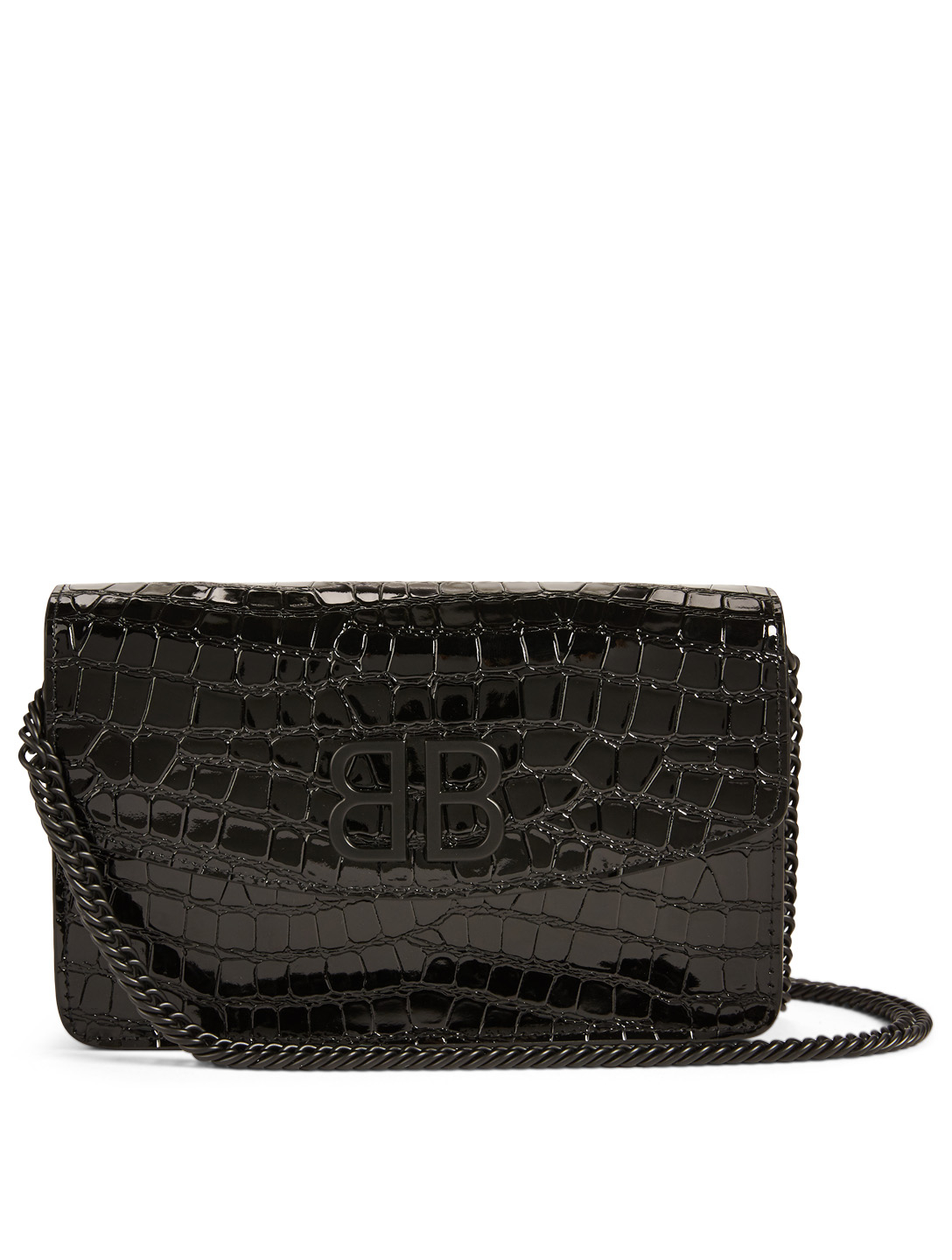64426b35679 BALENCIAGA BB Chain Wallet Croc-Embossed Leather Crossbody Bag In Logo  Print Women's Black ...