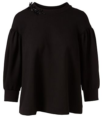 SIMONE ROCHA Embellished Drop Sleeve Sweatshirt Women's Black