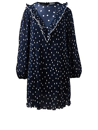GANNI Pleated Georgette Dress In Polka Dot Women's Blue