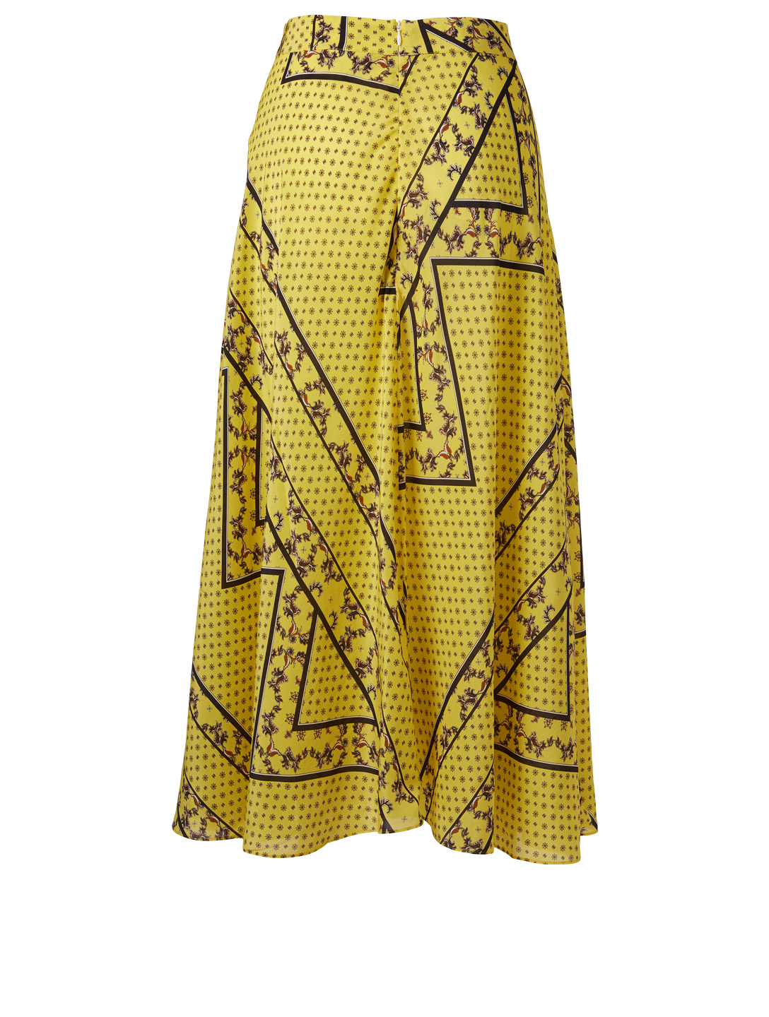 GANNI Printed Silk A-Line Midi Skirt Women's Yellow