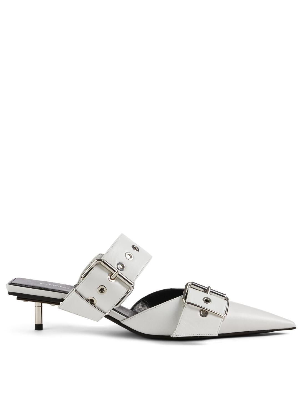 c9e4ed72b235 BALENCIAGA Belt Leather Kitten Heel Mules Women s White ...