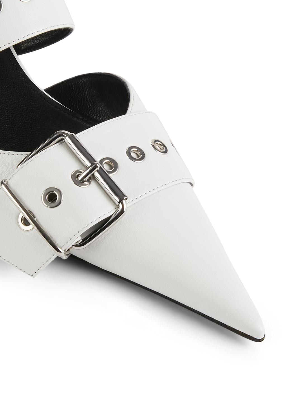 c578bfc2ee98 ... BALENCIAGA Belt Leather Kitten Heel Mules Women s White