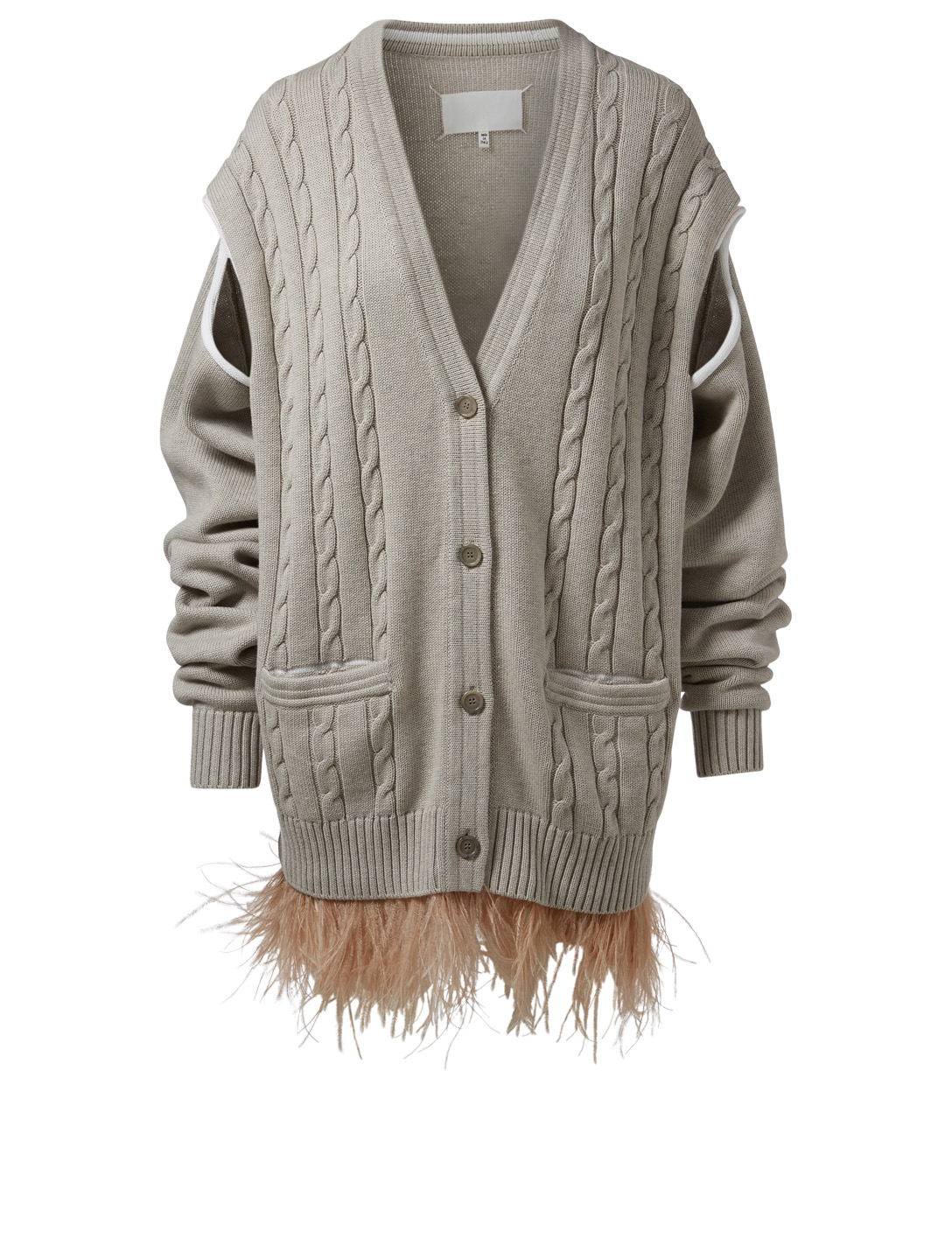 MAISON MARGIELA Cable-Knit Oversized V-Neck Cardigan With Ostrich Feathers Women's Grey