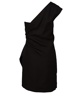 VICTORIA VICTORIA BECKHAM Linen-Blend One Shoulder Dress Women's Black