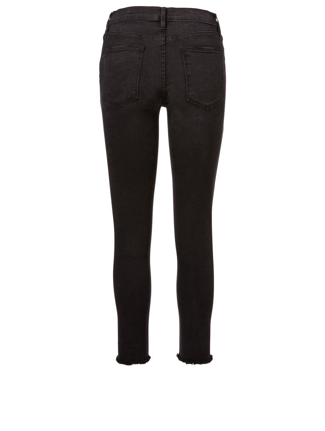 FRAME Le High Skinny Ankle Jeans With Raw Hem Women's Black