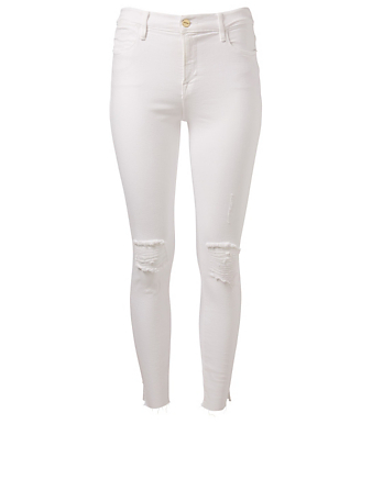 FRAME Le High Skinny Ankle Jeans With Slits Women's White