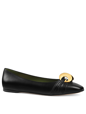 GUCCI Leather Ballet Flats With Half Moon GG Womens Black