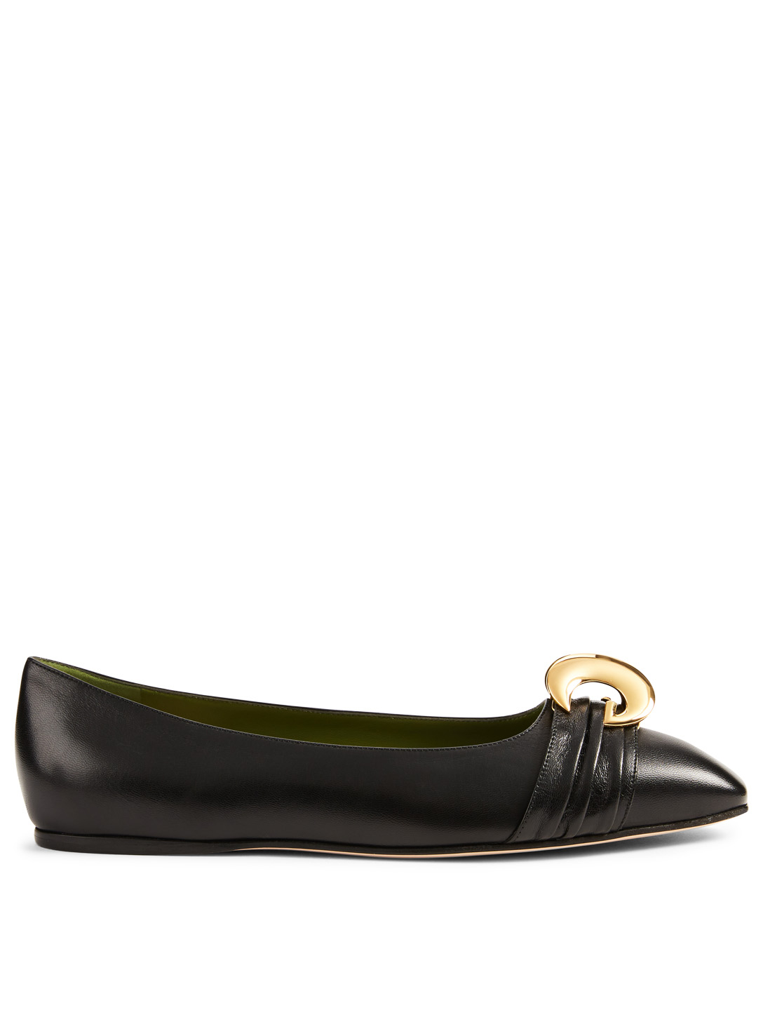 c5bb53ea0 GUCCI Leather Ballet Flats With Half Moon GG Women's Black ...
