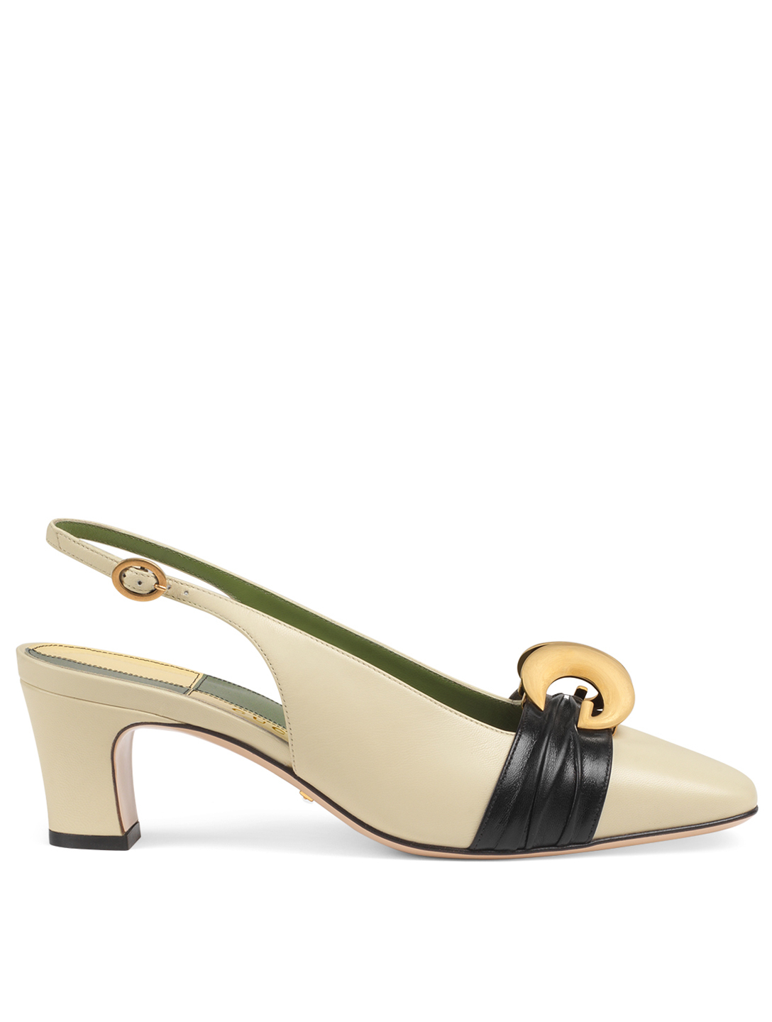 GUCCI Leather Slingback Pumps With Half Moon GG Women's Multi