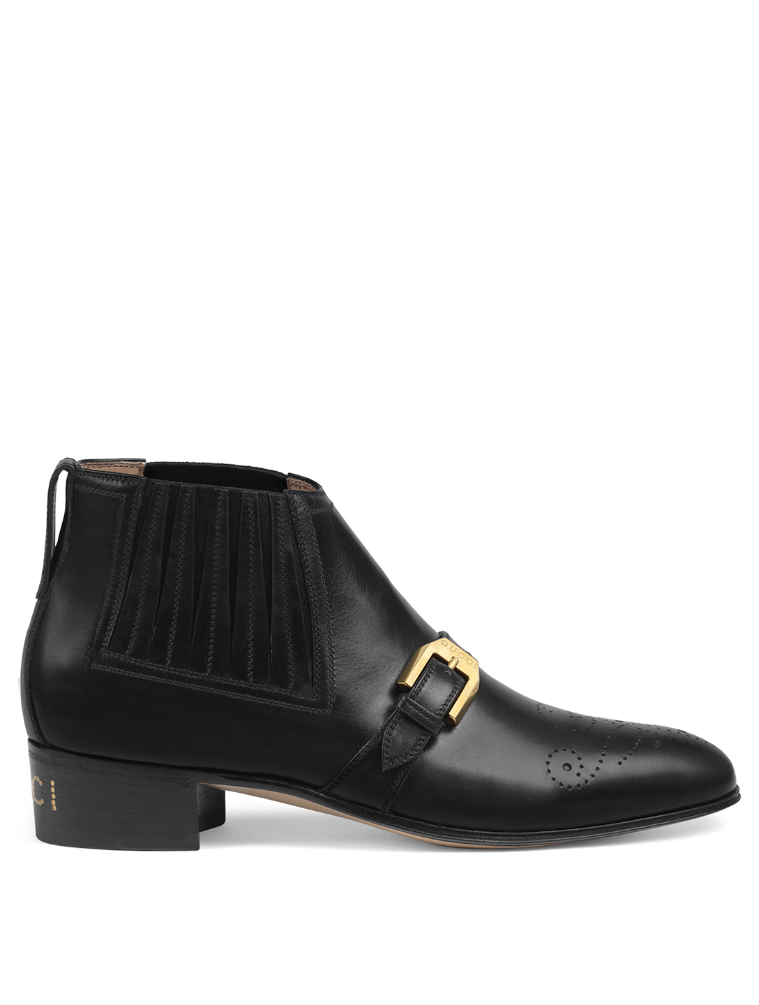 GUCCI Leather Ankle Boots With G Brogue Womens Black
