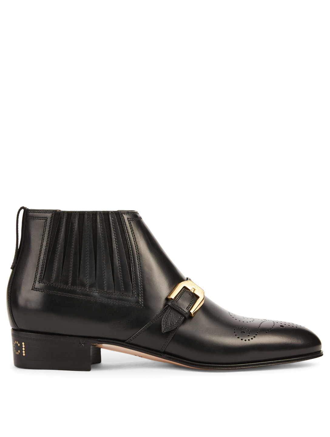 59401bd8b GUCCI Leather Ankle Boots With G Brogue Women's Black ...