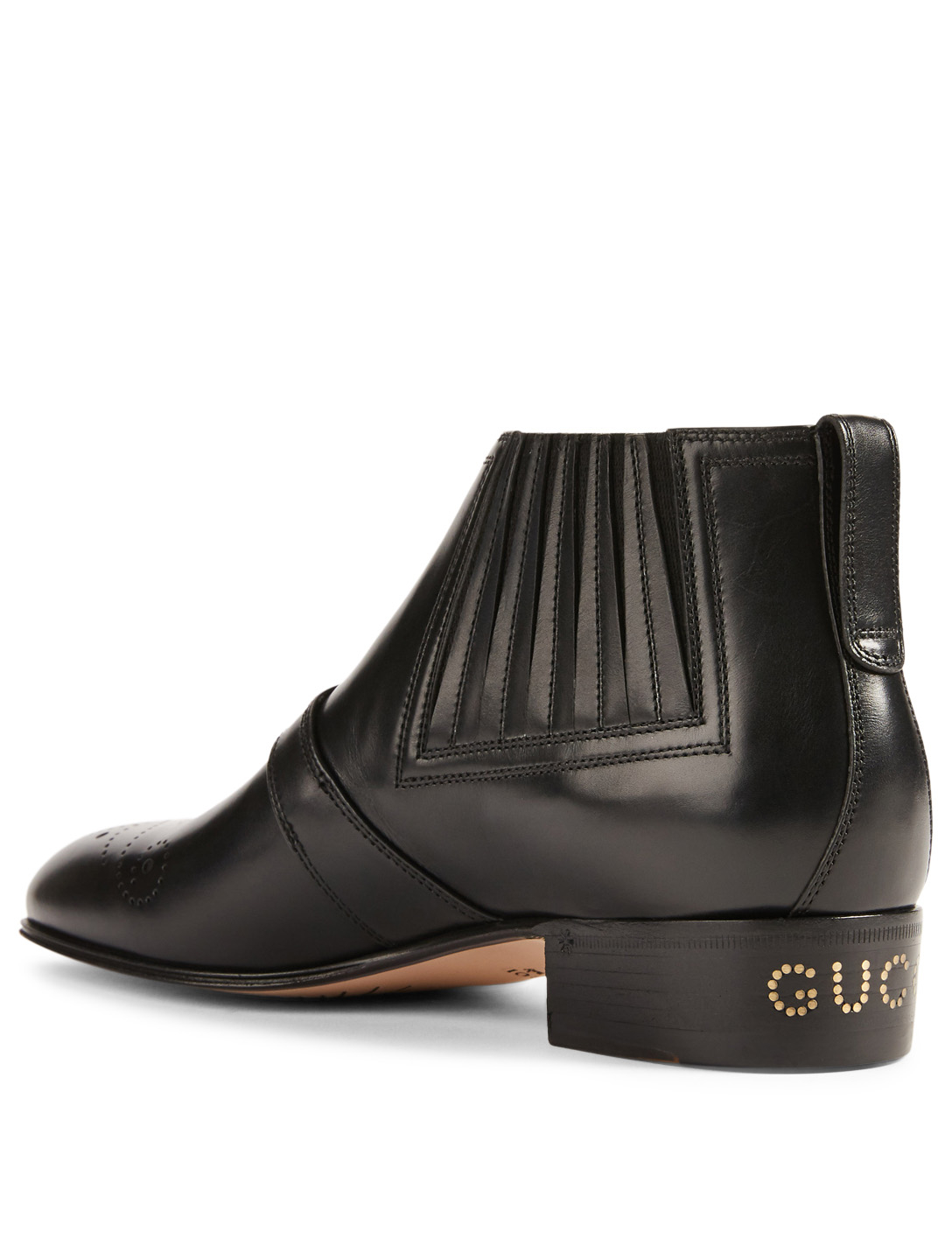 b5b705e49 ... GUCCI Leather Ankle Boots With G Brogue Women's Black ...