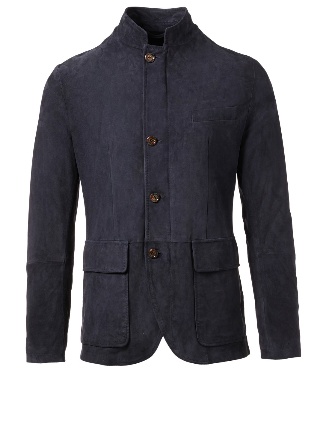 ELEVENTY Suede Nehru Jacket Men's Blue