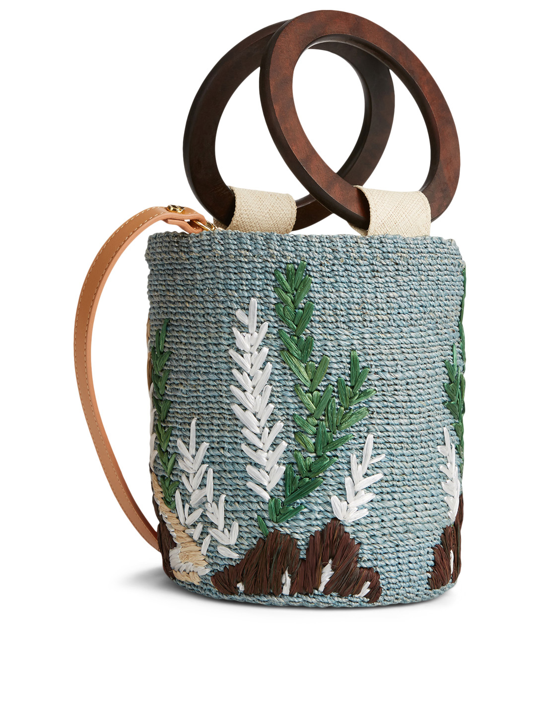 ARANAZ Raia Embroidered Bucket Bag H Project Blue