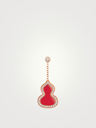 QEELIN Small Wulu 18K Rose Gold Earring With Red Agate And Diamonds Women's Gold