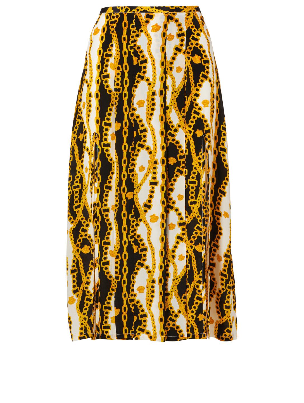 8d4205a08c36 RIXO Georgia Silk Skirt In Shell Chain Print Women's Black ...