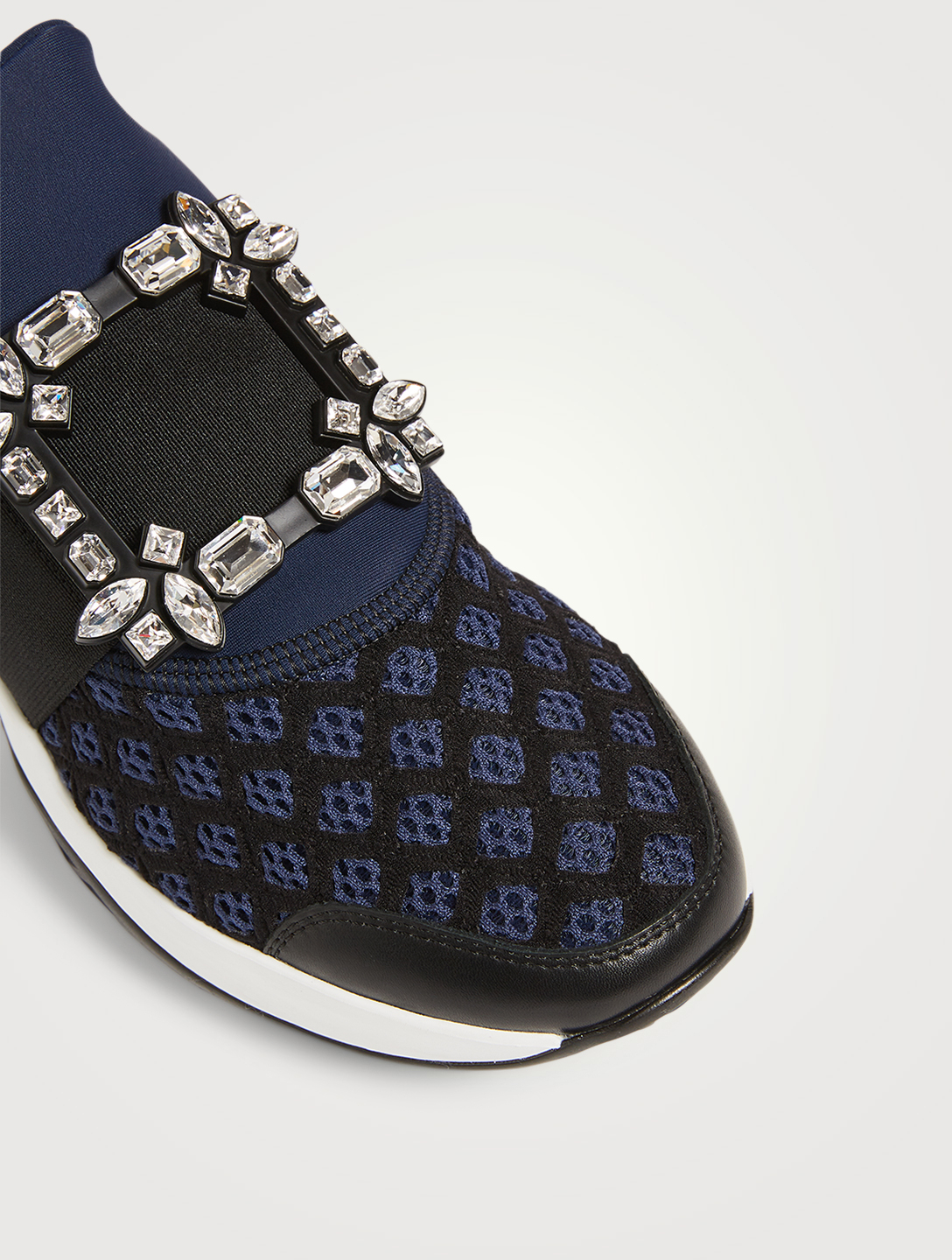 ROGER VIVIER Viv' Run Sneakers With Strass Buckle Women's Blue