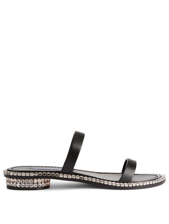 44c9f8884 STUART WEITZMAN Coquina Leather Crystal Sandals Women's Black ...