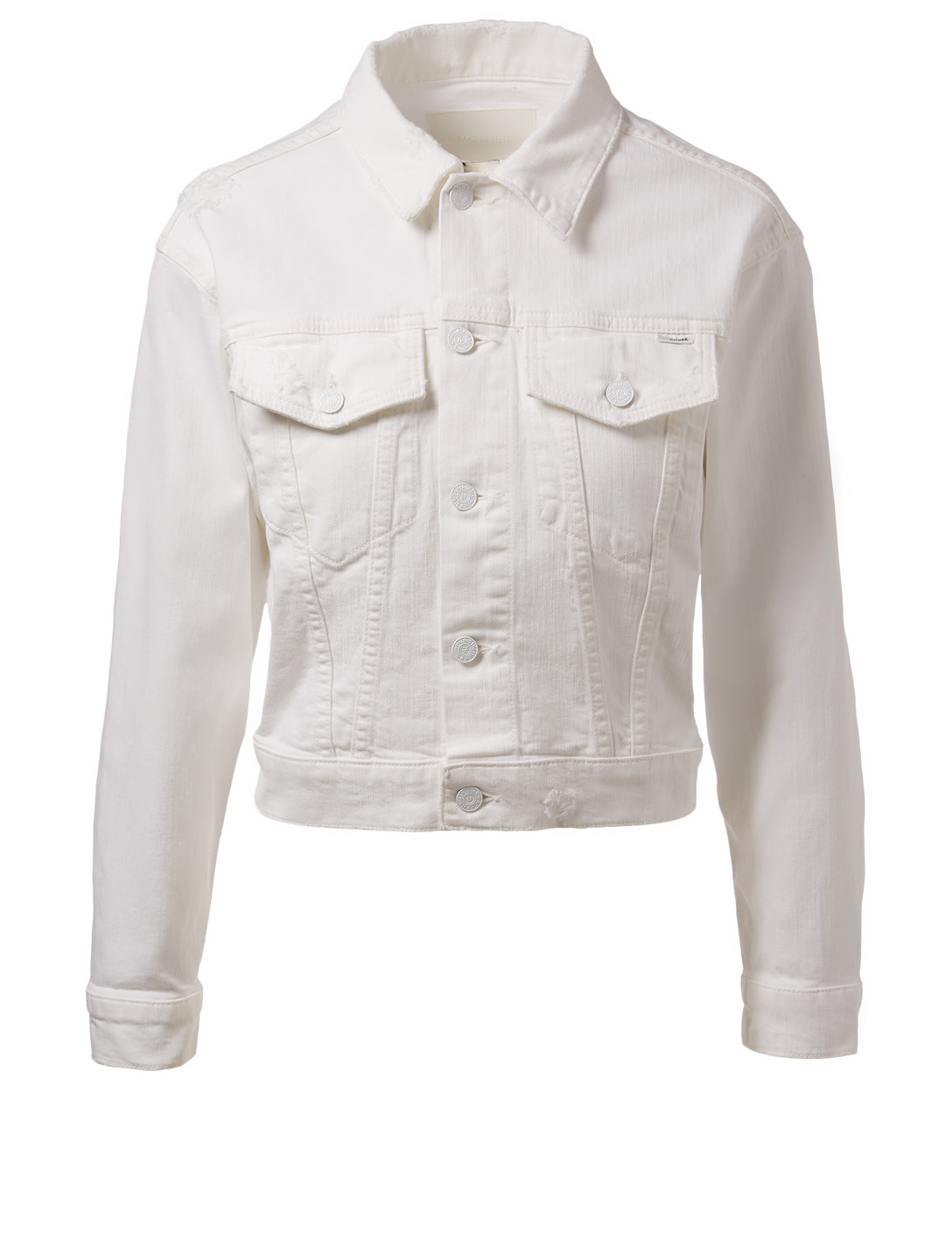 MOTHER Veste Big Shorty en denim Femmes Blanc