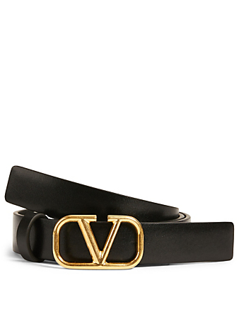 VALENTINO GARAVANI Small VLogo Leather Belt Women's Black