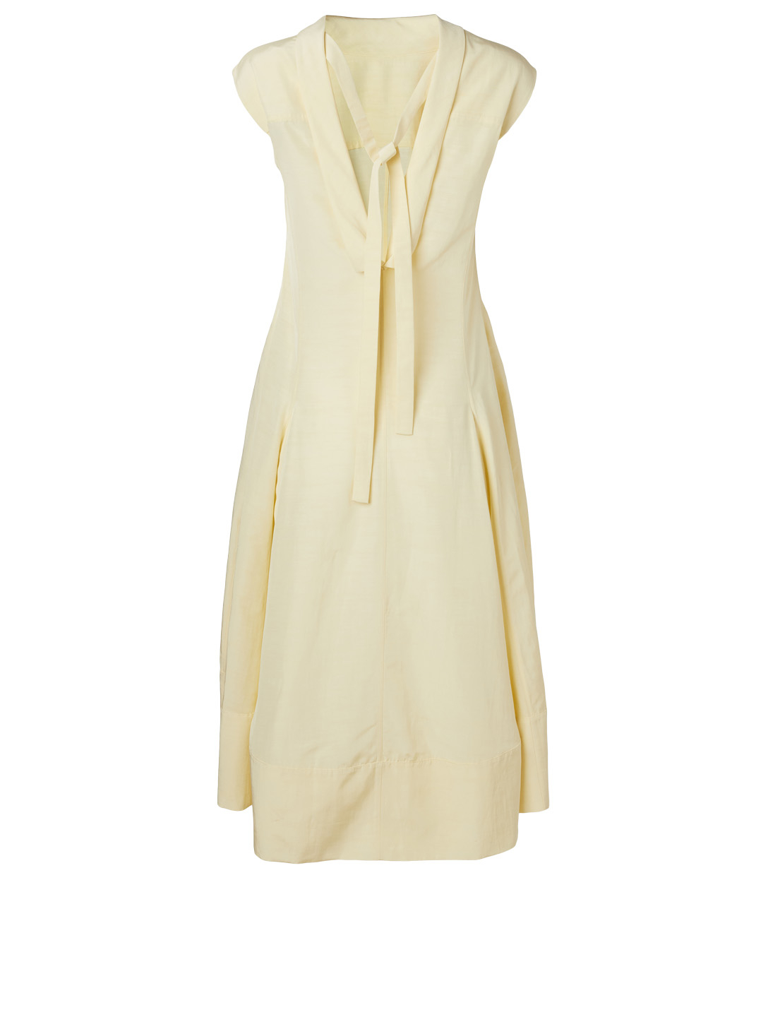 JIL SANDER Linen-Blend Mock Neck Dress Women's Yellow