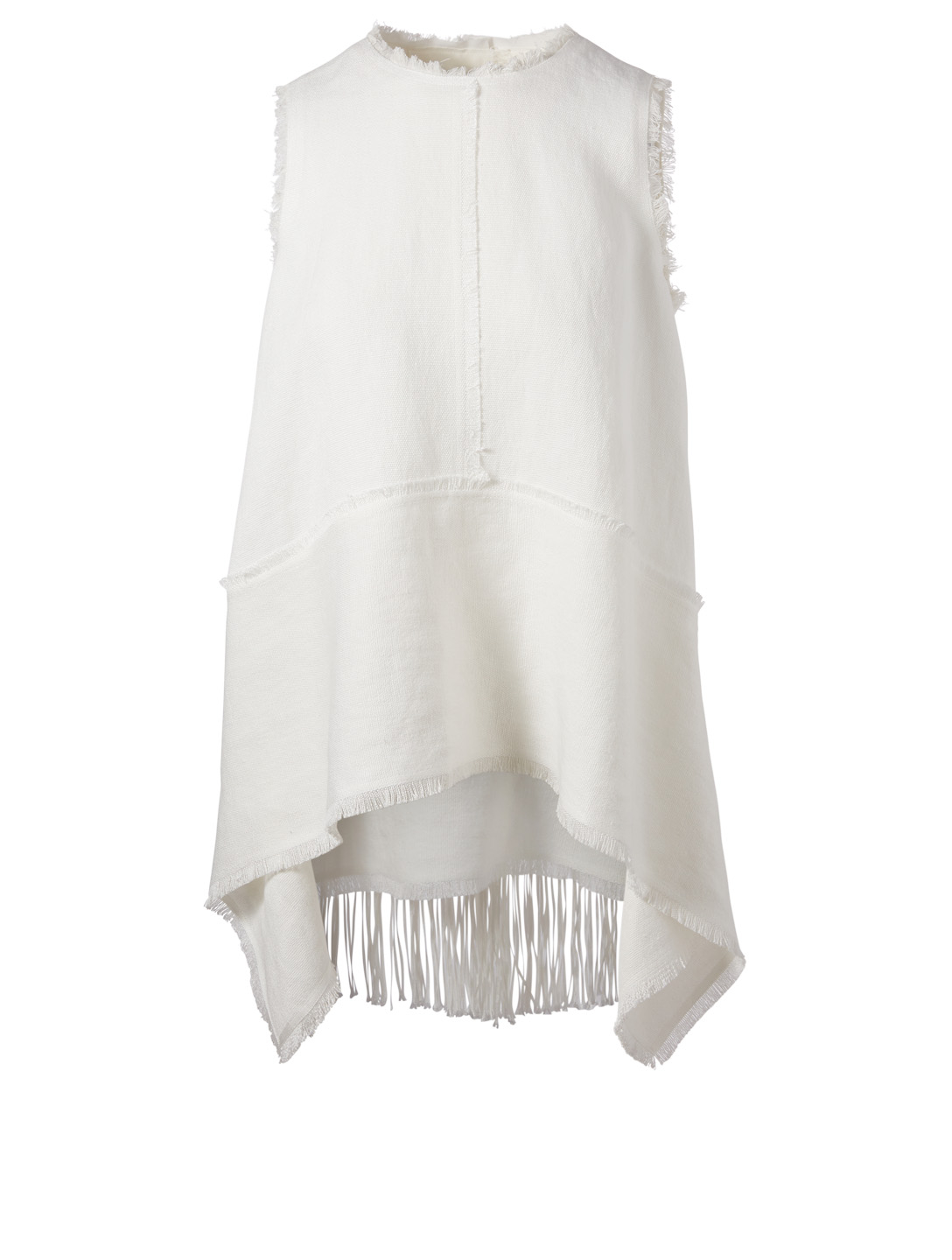 KUHO Raw-Edge Linen Top Women's White