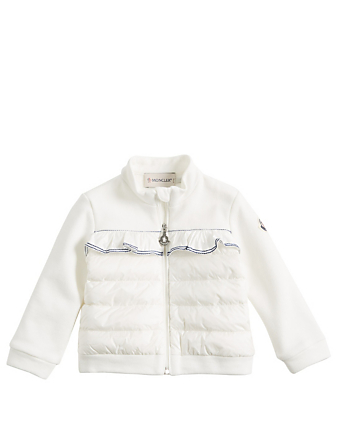 MONCLER ENFANT Baby Zip-Up Down Cardigan With Ruffle Kids White